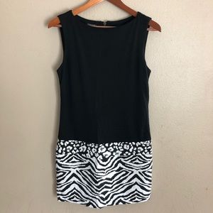 Muse Animal Print Sleeveless Little Black Dress